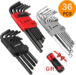 36Pcs Hex Key Meterk Allen Wrench Set, Inch/Metric/Star, Long Arm Ball End Hex Key Socket Head Screw Wrench Multi-size Internal Hexagonal Spanner, Bonus Free Strength Helping T-Handle