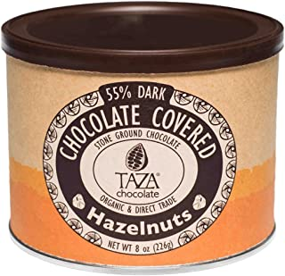Taza Chocolate Organic Chocolate Covered Hazelnuts, 55% Dark Chocolate, 8 Ounce (Pack of 1), Vegan