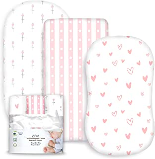 3 Pack Organic Cotton Fitted Bassinet Sheets for Girl, Tiny Tulips, Hearts and Stripes