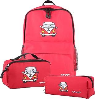 Set 3pcs rojo (mochila + bolsa almuerzo + estuche), 43x29x11