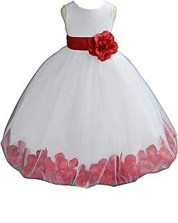 8609ffc50c4 ekidsbridal White Floral Rose Petals Flower Girl Dress Birthday Girl Dress  Junior Flower Girl Dresses 302s