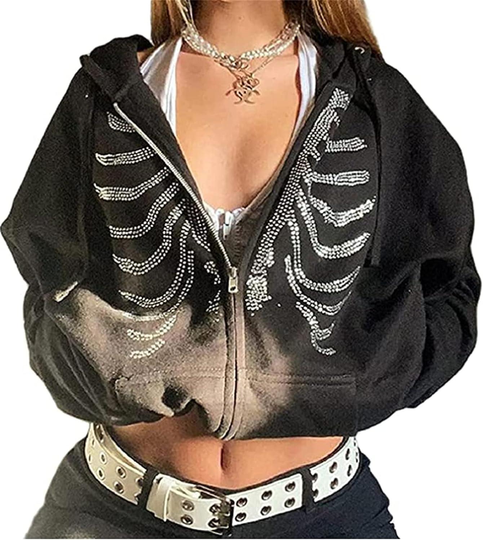 Women Causal Skull Rhinestones Print Sweatshirt Y2k Long Sleeve Hooded Jacket 90S Vintage Zip Up Hoodie Top