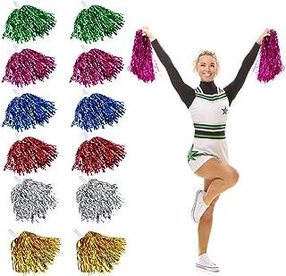 Qpower 24PCS Cheerleading Poms Squad Spirited diversi/ón Que Anima la Hoja met/álica Plastic Pom con Baton Handle para la Fiesta de Baile Football Club Decoration Black