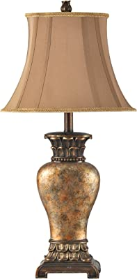 Collective Design L31354ADSAM, Brown, Bronze, Gold, Amber Finish, Taupe Fabric Shade Table Lamp