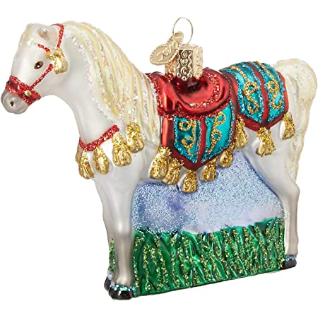 OLD WORLD CHRISTMAS HORSE IN STALL GLASS CHRISTMAS ORNAMENT 12288