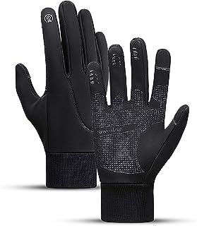 Guantes de ciclismo para motocicleta y bicicleta, impermeables, con pantalla táctil, color negro