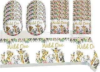 Wild One Birthday Party Supplies,Includes 20 Paper Plates - 20 Napkin - Table Cloth for Boys Safari Animals Theme Party De...