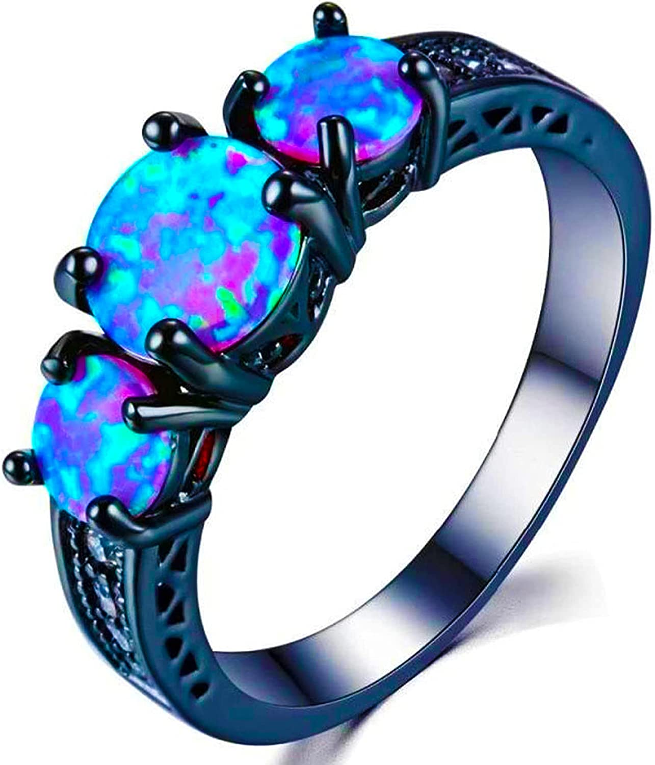 ocean Ranking TOP9 blue fire simulated opal black Wedding gold New Orleans Mall plated ring