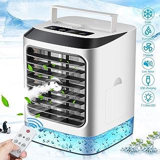 Aire Acondicionado Portátil, 4 en 1 Mini Ventilador Humidificador Purificador, USB Air Cooler con 3 Velocidades y 7 Colores LED Luz para Oficina Hogar Acampada