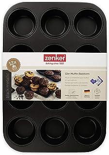 Zenker 6535 Moule pour muffins, moule à cupcakes, moule 12 empreintes, Acier inoxydable, 38,5 x 26,5 x 3 cm