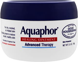 Aquaphor Healing Ointment, 3.5 oz., Moisturizes and Soothes Dry, Cracked, Irritated Skin, Use on Chapped Lips Hands or Feet, Fragrance Free, Latex Free, Hypoallergenic, Promotes Healthy Skin