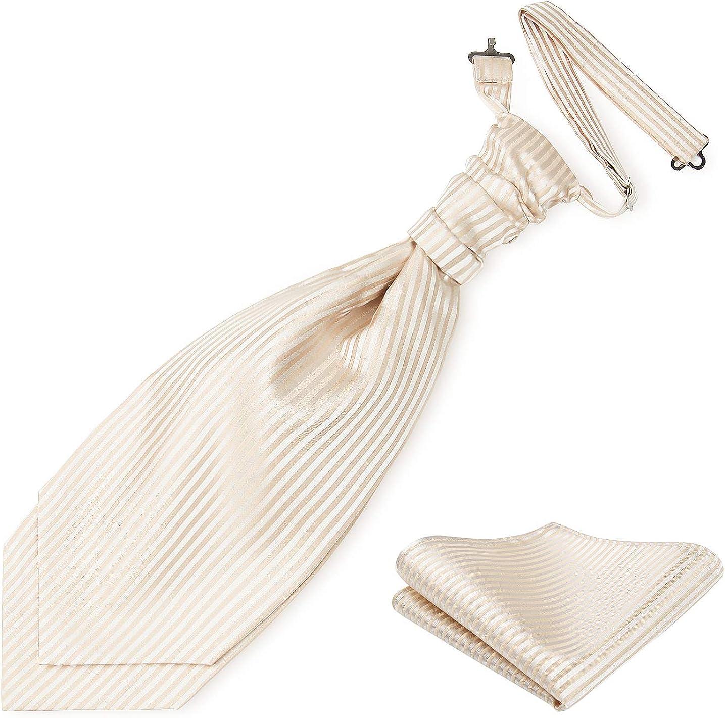 Cravat Ascot Pretied Neckties Luxury Puff Tie for Men Satin Necktie Paisley Floral Tie with Pocket Square Wedding