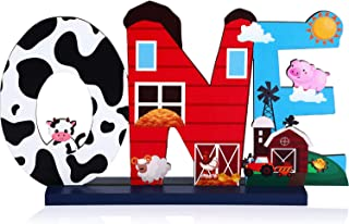 Farm Animal 1st Birthday Party Table Decoration, One Table Topper Letter Sign Wood Farm Barnyard First Birthday Milestone ...