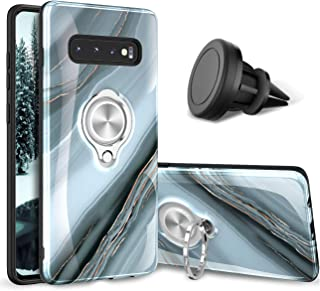 eSamcore Samsung Galaxy S10 Case – Luxury Marble Ring Holder Phone Cases + Vent Car Phone Mount for Samsung Galaxy S10 2019 [Granite Gray]