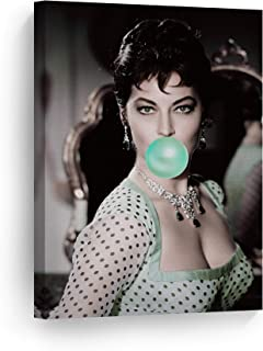 Ava Gardner Teal Blue Bubble Gum Chewing Gum Wall Art CANVAS PRINT Colored Picture Iconic Pop Art Home Decor Artwork Gallery Stretched and Ready to Hang - %100 Handmade in the USA - 17x11