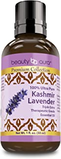 Beauty Aura Premium Collection- Ultra Pure Kashmiri Lavender Essential Oil - 1 oz Bottle - Finest Quality Therapeutic Grade Essential Oils Ideal for Aromatherapy