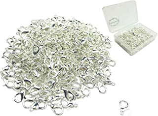 Hyamass 200pcs Curved Lobster Clasps 7x12mm Silver Plated Lobster Claw Clasps DIY Jewelry Fastener Hook,necklace DIY Fasteners (Silver)