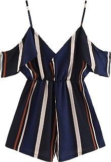 a94e5b17a2e Romwe Women s Mid Waist Open Cold Shoulder Colorblock Striped Print Short  Romper Jumpsuit