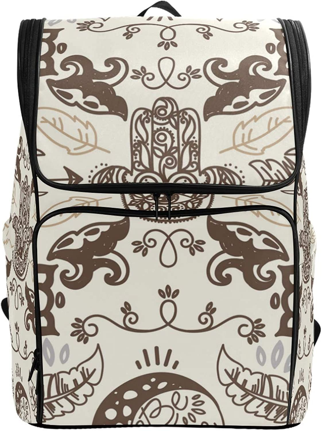 FANTAZIO Doodle Moons and Hamsa Symbol Laptop Outdoor Backpack Travel Hiking Camping Rucksack Pack, Casual Large College School Daypack