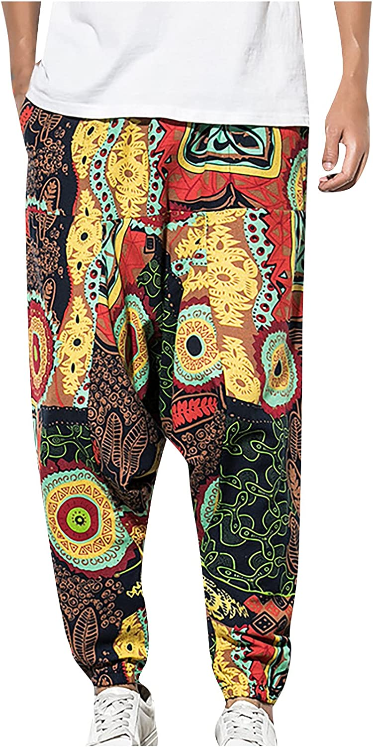 Free shipping on posting reviews Loose Baggy Harem Pants OFFicial mail order for Waist Men Breathable Elastic Hippie