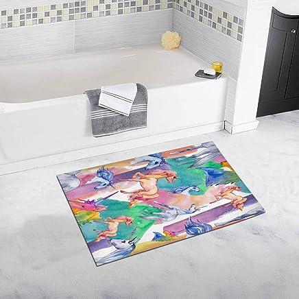 Cute Unicorn Horse Home Decor Non Slip Bath Rug Set Absorbent Floor Mats for Bathroom Tub Bedroom