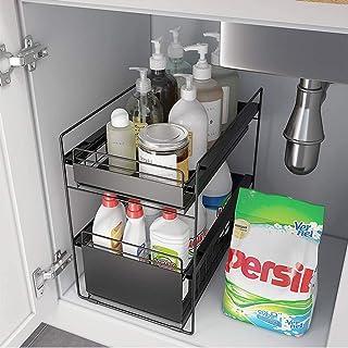 Panier d'armoire coulissant à 2 niveaux,organisateurs de placard,organisateur sous évier sous évier cuisine de rangement,p...