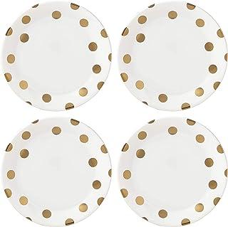 Kate Spade New York Deco Dot Gold Dinner Plates, Set of 4