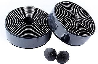 Nicoone 2 Stks Fiets Stuur Tape Holle Stuur Wraps Lederen Fietsen Handvat Bandage Strap Wraps voor Gebogen Hand Grip Zwart