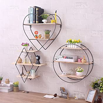 Geometric Square Wall Wire Shelf Storage Holder Wood Rack-Shelves Decor Home