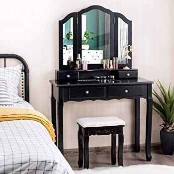Open Compartments and Bedroom Vanity Table Tri-Fold Necklace Hooked Mirror Vanity Set Vanity Makeup Set Dressing Table with 7 Drawers Cushioned Stool for Women Girls Black 2 Brush Slots