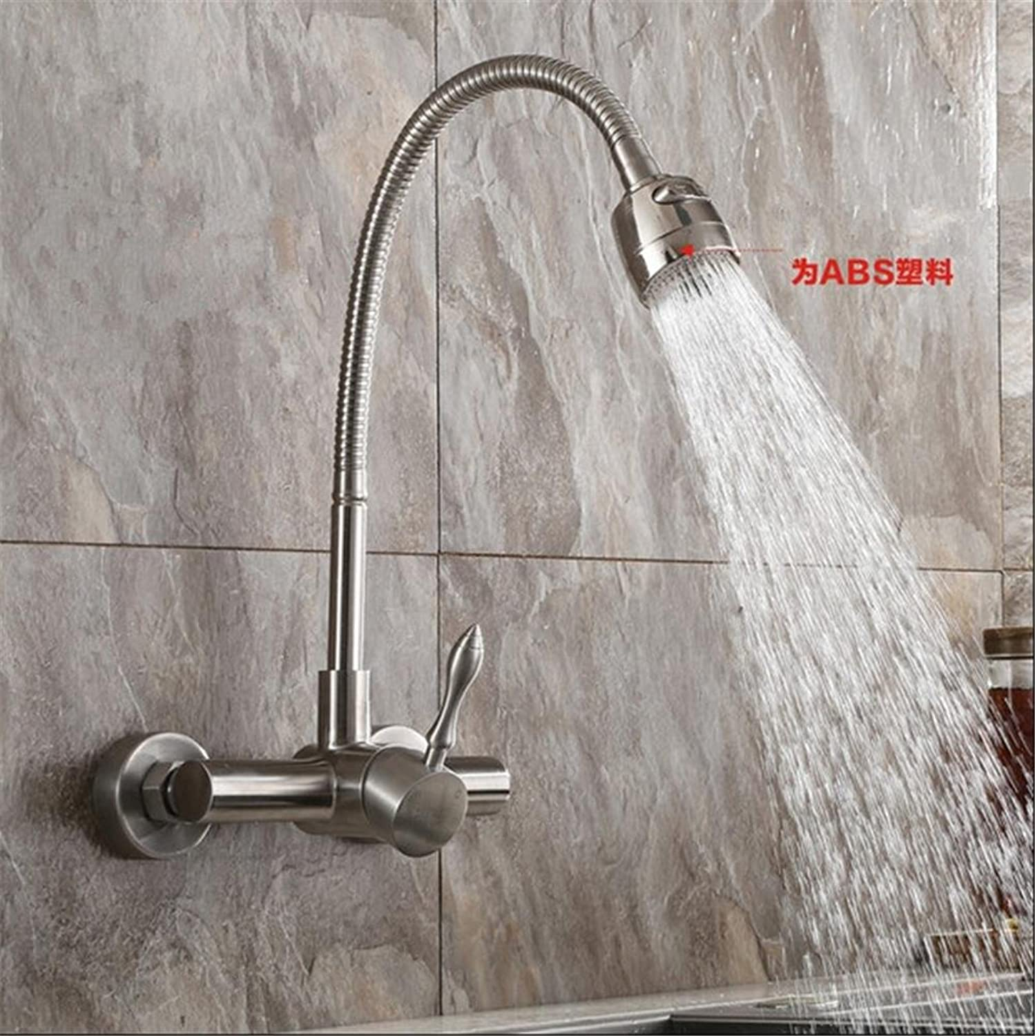HomJo Kitchen Faucet Polished Chrome Stainless Steel Double hole into the wall Sink Tap , 1
