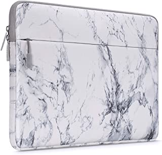 MOSISO Laptop Sleeve Bag Compatible with 13-13.3 inch MacBook Pro, MacBook Air, Notebook Computer with Accessory Pocket, Ultraportable Protective Canvas Marble Pattern Carrying Case Cover, White