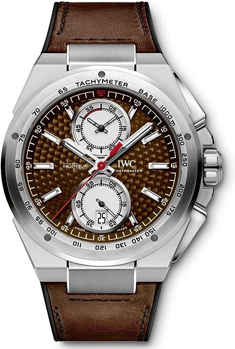 Orologio iwc ingenieur quadrante argento cinturino in pelle automatico mens chrono watch iw378505