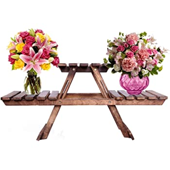 SZ Crafts Vintage Wooden Multipurpose Folding Rack/Plant Stand with 3 Decks/Living Room Side Stand/Wooden Stool/Flower Pot Stand/Vase Stand Plant Stand for Garden and Outdoors