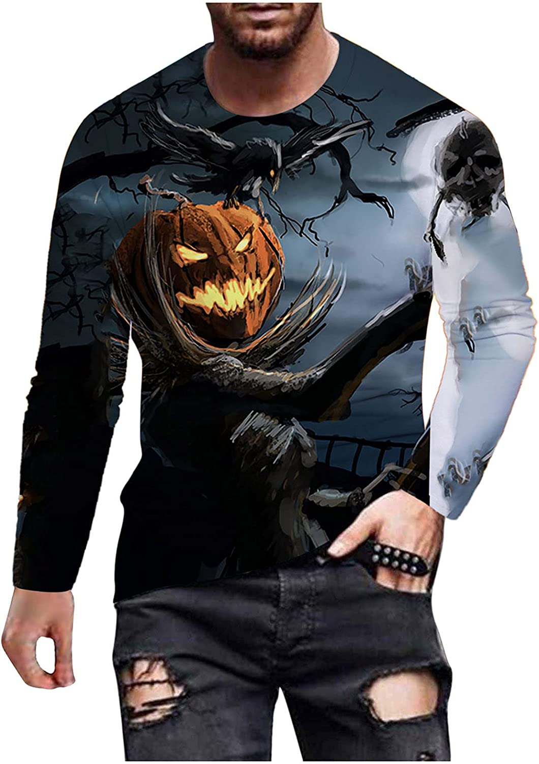 xoxing Halloween Shirts for Men Autumn Plus Size Crew Neck Long Sleeve Tops 3D Digital Printed Loose Blouse Pullovers