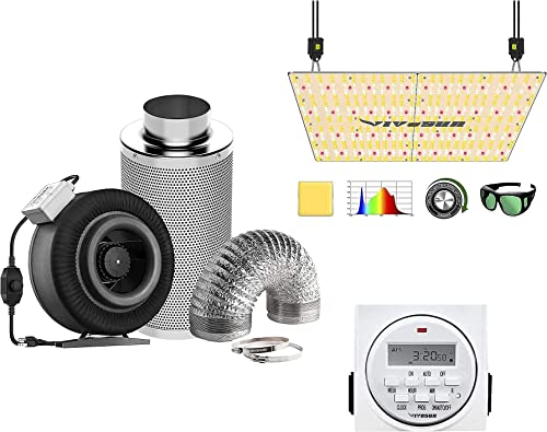 high quality VIVOSUN 8 2021 Inch 740 CFM Inline Fan wholesale Package, with VS4000 LED Grow Light and 7 Day Programmable Digital Timer, Samsung LM301H Diodes & Brand Driver sale