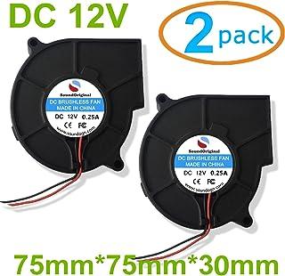 SoundOriginal 12V DC Brushless Blower Cooling Fan 75x75x30mm, 2pin, Dual Ball Bearing, Computer Fan, Multi Use, Black, US Support (2, 12V 75x75x30)