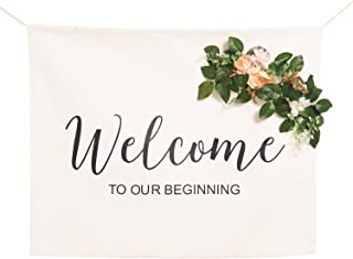 Ling's moment Canvas Wedding Banner - Calligraphy Welcome to Our Beginning Wedding Sign w/Removable Artificial Flower Decor for Bridal Shower Wedding Reception