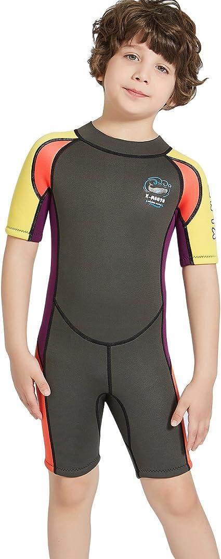 TENMET Boys Kids 2.5mm Neoprene Keep Warm Wetsuit UV Protection Swimsuits Long Sleeves Diving Suits