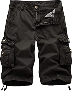 Mens Camo Cargo Shorts Relaxed Fit Multi-Pocket Outdoor Camouflage Cargo Shorts Cotton