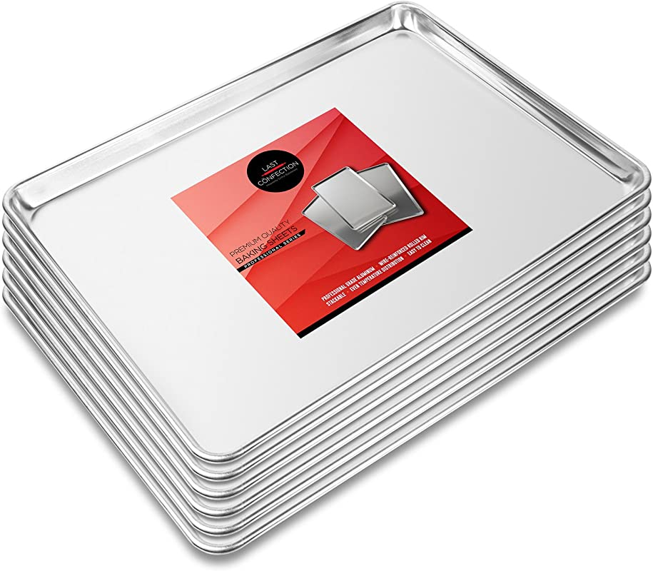Last Confection 6 Cookie Baking Sheets 15 X 21 Rimmed Aluminum Jelly Roll Trays Three Quarter Sheet Pans