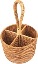 Fsrybh Hand - Knitted Rattan Storage Basket Portable Round Four - Room Fruit Basket Straw Gourmet Orchard Remote Control S...