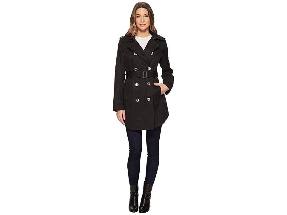 Calvin Klein Double Breasted Trench with Hi Lo Hem (Black) Women