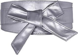 Women Faux Leather Wide Waistband Obi Belt Wrap Around Lace Up Cinch Band Wide Self Tie Cummerbund