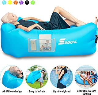 Inflatable Lounger Air Sofa Pouch Inflatable Couch Air Chair Hammock with Pillow Portable Waterproof Anti-Air Leaking for Outdoor Camping Hiking Travel Pool Beach Picnic Backyard Lakeside Christmas