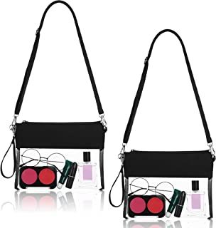 2 Pack Clear Bag Crossbody Purse Bag Stadium Approved Tote Bag Transparent Cross Bag with Adjustable Shoulder Strap and Wrist Strap for Work School Sports and Concerts