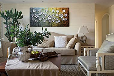 V-inspire Paintings, 24x48 Inch Paintings White Daisy Flower Oil Painting 3D Hand-Painted On Canvas Abstract Artwork Art Wood