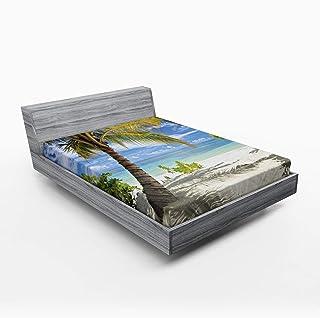 ABAKUHAUS Palmier Drap-Housse, Littoral Palmiers, Pochette Élastique Tout Confort pour Literie en Tissu Décoratif, 160 x 2...