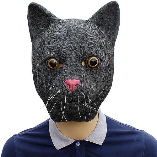JTWJ Masque en Latex Chat Noir
