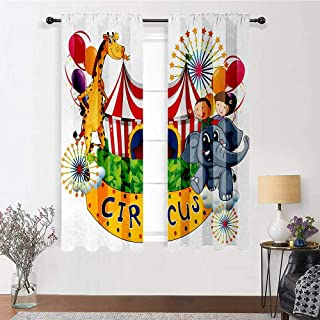 """Patio Curtains Circus Decor Thermal Prevent Noise Circus Show with Kids and Animals Smiling Magician Children Happiness 2 Panels 72"""" x 84"""" Multicolor"""